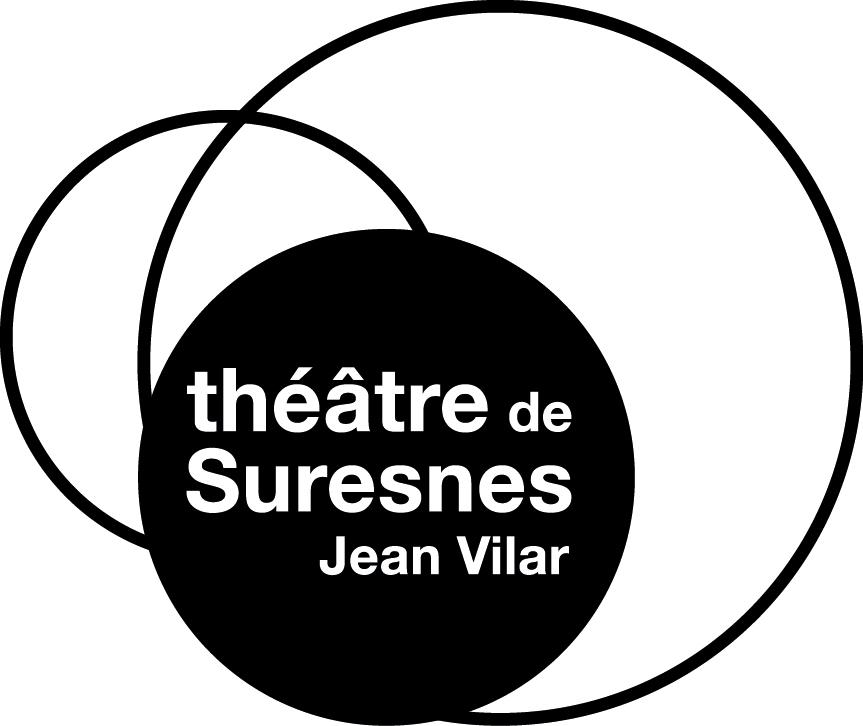 Logo en noir et blanc avec la mention théâtre de Suresnes Jean Vilar inscrite en blanc dans des ronds noirs