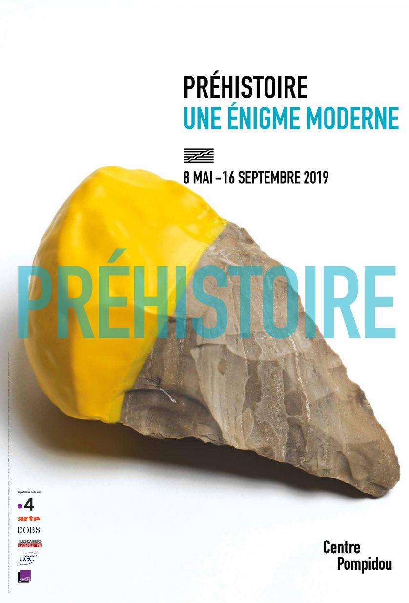 Affiche de l'exposition Préhistoire au Centre Pompidou du 8 mai au 16 septembre 2019