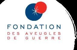 Logo de la fondation des aveugles de guerre, sur fond blanc inscription en rouge