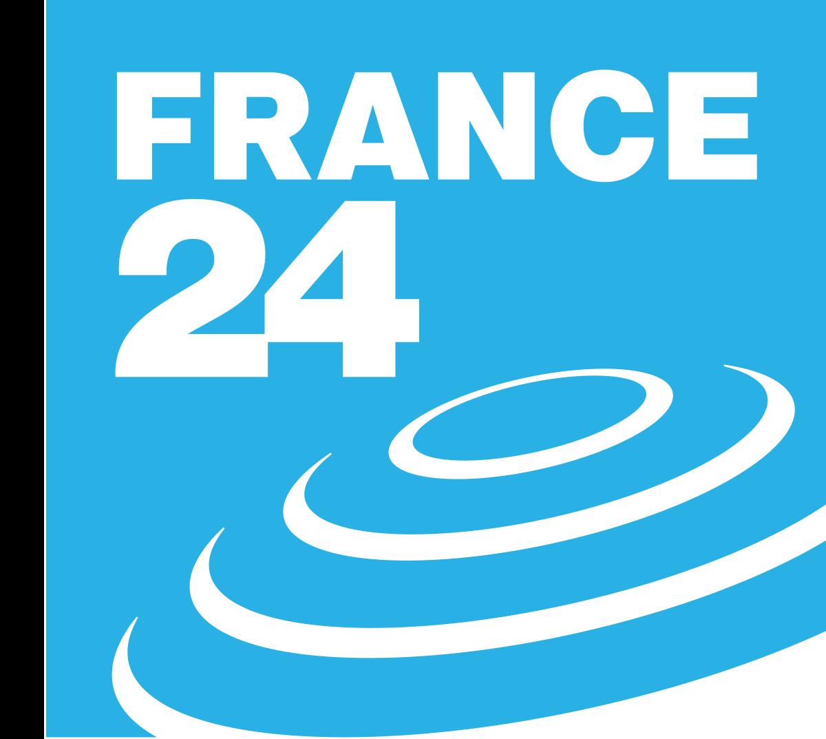 Logo de France 24, sur fond bleu clair avec l'indication France 24 en blanc