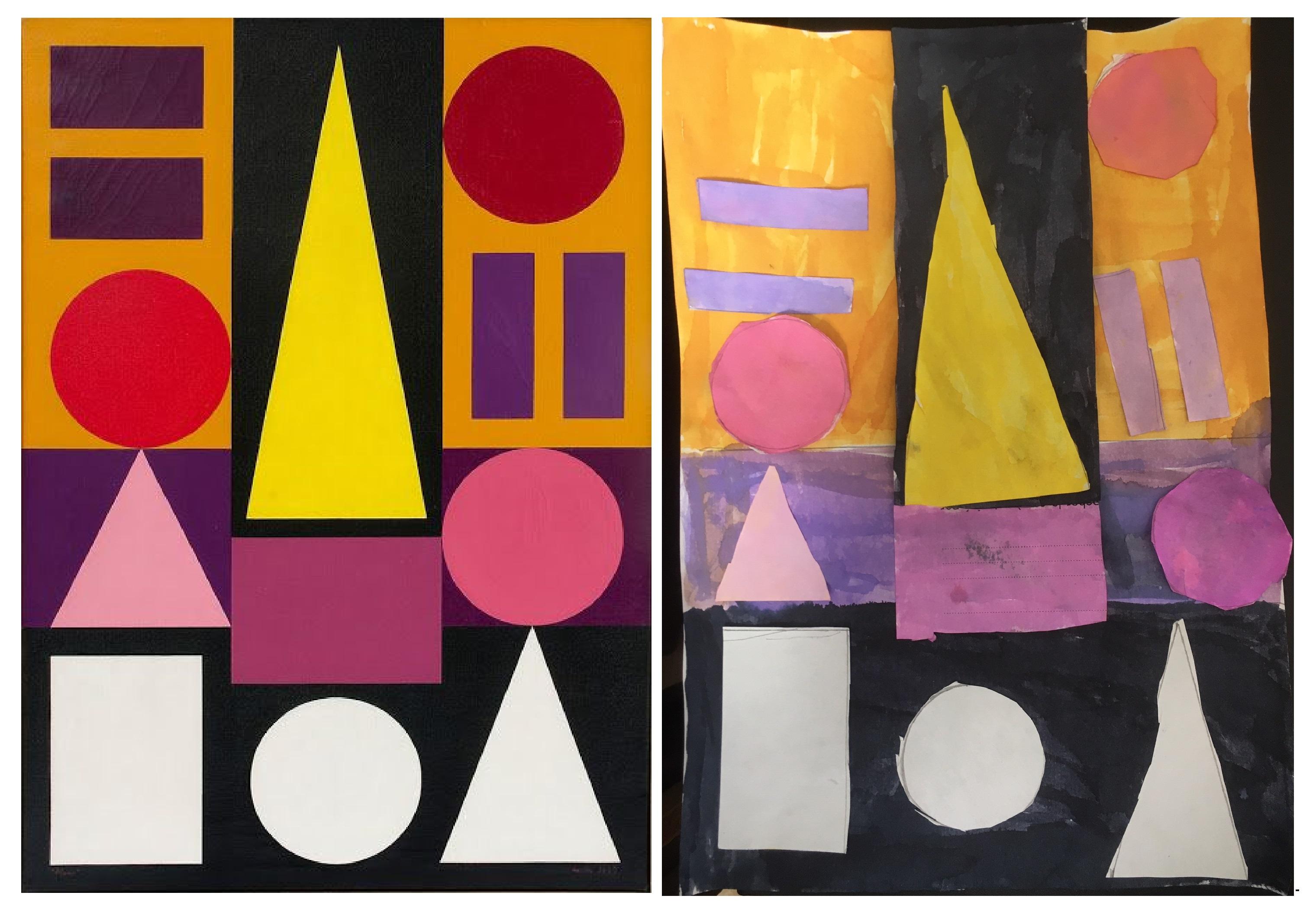 A gaudhe de l'image, l'original du tableau de Auguste Herblin, sur fond noir, des figures géométriques sont dessinées en couleur (rond , carré, triangle, symbole égal), à droite de l'image, la reproduction quasi similaire de Aurore, 7 ans