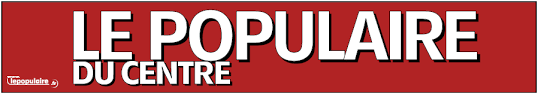 Sur fond rouge en lettre capitale blanche est inscrit Le populaire