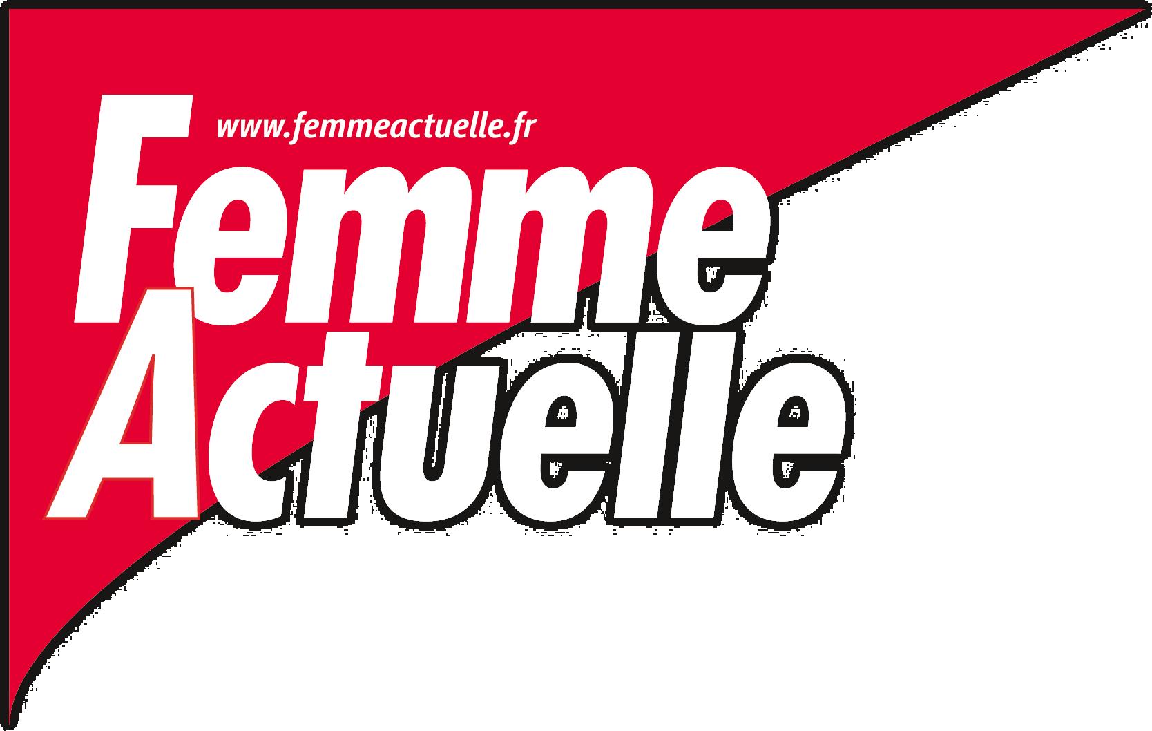 """Logo du magazine femme actuelle. Sur un fond rouge en lettre blanche l'information """"Femme actuelle"""""""