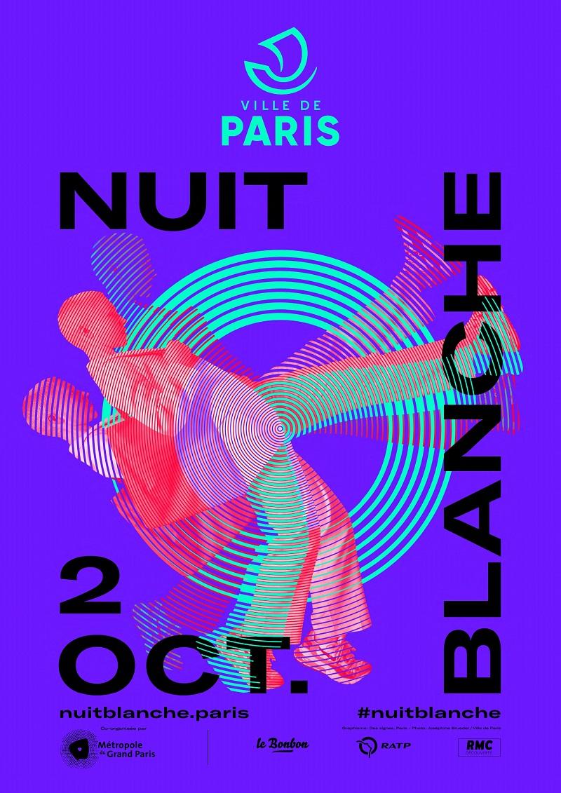 Affiche sur fond violet apparaissent en noir les informations Nuit Blanche 2 octobre . En dessin deux danseurs apparaissent en filigrane.